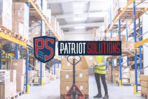 Patriot Solutions Logo over Warehouse Image