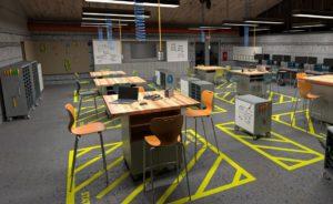 Rendering of School Workshop with MiEN Furniture